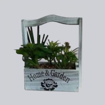 Cesta Madeira C/ Plantas